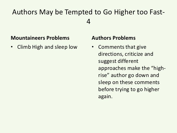Authors May be Tempted to Go Higher too Fast- 4<br />Mountaineers Problems<br />Climb High and sleep low<br />Authors Prob...
