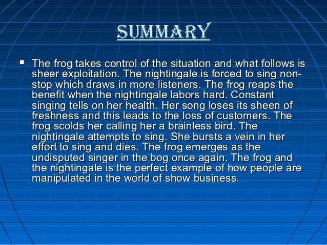 Summary and Analysis of the Frog and the Nightingale