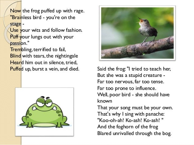 the frog and the nightingale Study material of virtually true (summary and word meanings) ncert class 10th.