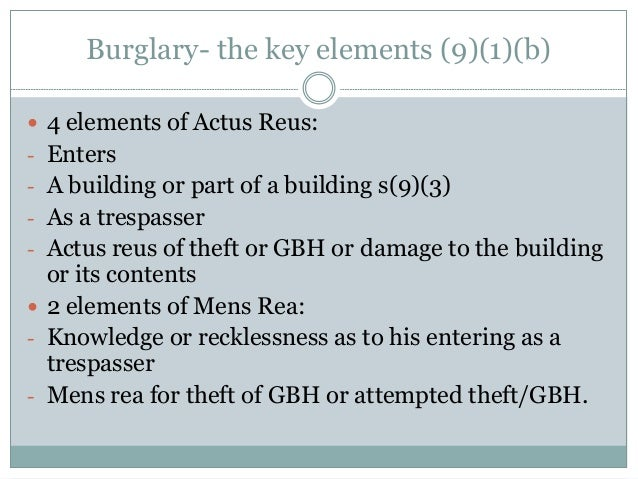 explain mens rea and actus reus of theft act 1968 The mens rea of a crime is made up of those elements which relate to the state of mind of the accused in our example of theft, the mens rea elements are dishonesty and intention to permanently deprive mens rea elements are often harder to spot in legislation as the words are adjectives.