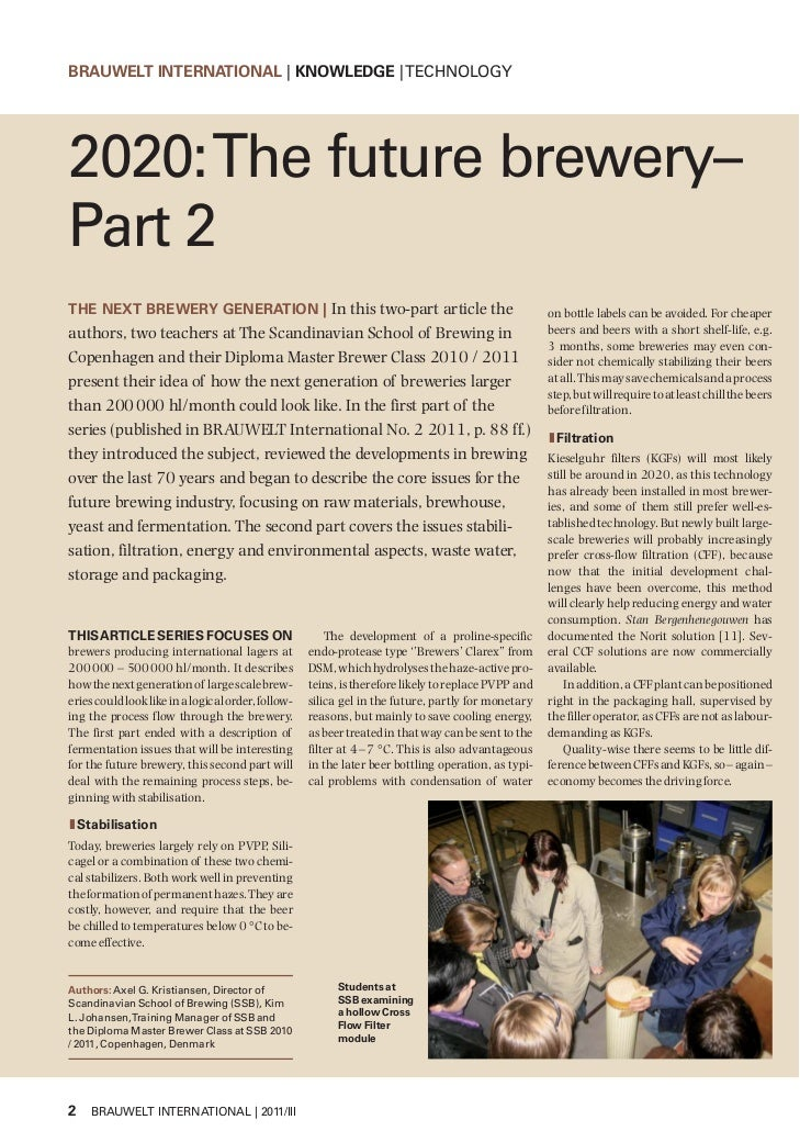 BRAUWELT INTERNATIONAL | KNOWLEDGE | TECHNOLOGY2020: The future brewery–Part 2THE NEXT BREWERY GENERATION | In this two-pa...