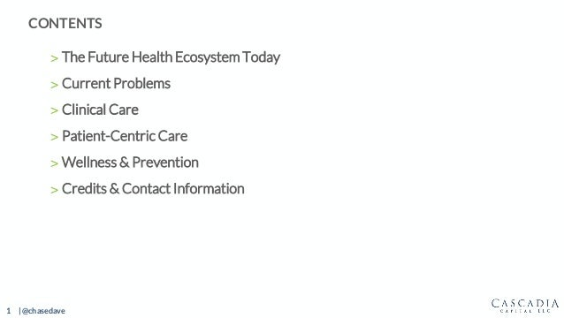 1 | @chasedave > The Future Health Ecosystem Today > Current Problems > Clinical Care > Patient-Centric Care > Wellness & ...