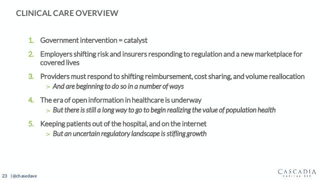 23 | @chasedave 1. Government intervention = catalyst 2. Employers shifting risk and insurers responding to regulation and...