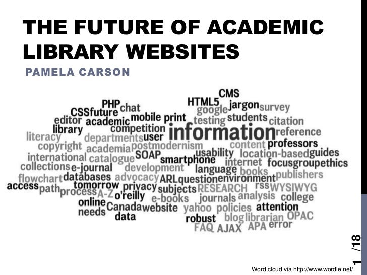 THE FUTURE OF ACADEMICLIBRARY WEBSITESPAMELA CARSON                                                    1 /18              ...