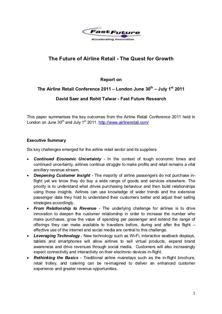 The Future of Airline Retail - The Quest for Growth                                          Report on      The Airline Re...