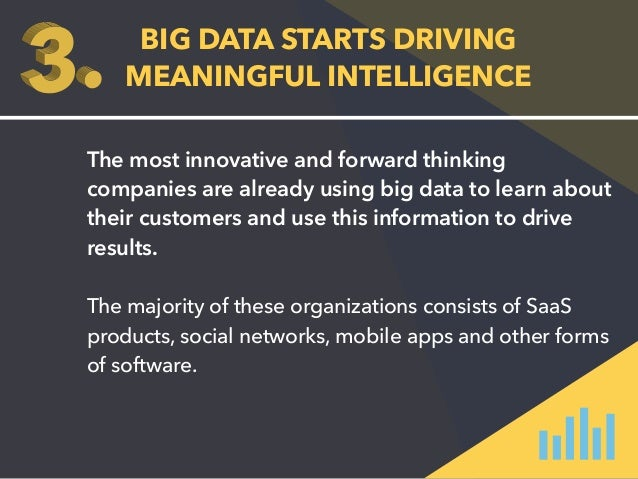 BIG DATA STARTS DRIVING  MEANINGFUL INTELLIGENCE  The most innovative and forward thinking  companies are already using bi...