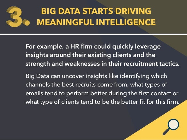 BIG DATA STARTS DRIVING  MEANINGFUL INTELLIGENCE  For example, a HR firm could quickly leverage  insights around their exi...