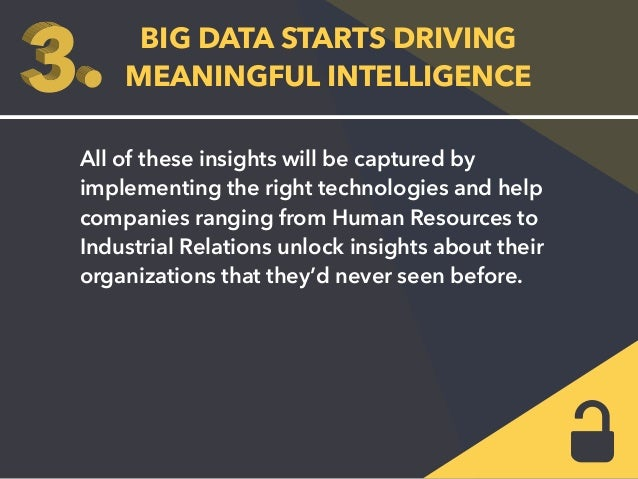 BIG DATA STARTS DRIVING  MEANINGFUL INTELLIGENCE  All of these insights will be captured by  implementing the right techno...