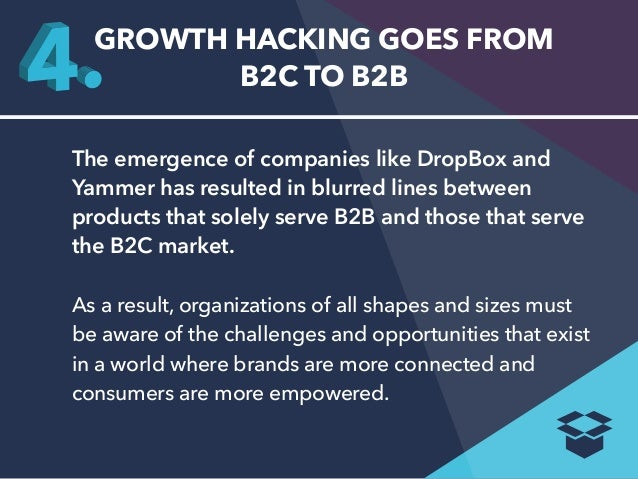 GROWTH HACKING GOES FROM  B2C TO B2B  The emergence of companies like DropBox and  Yammer has resulted in blurred lines be...