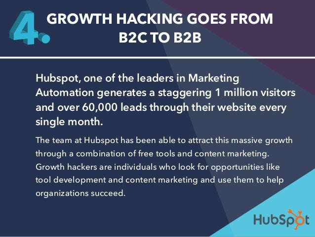 GROWTH HACKING GOES FROM  B2C TO B2B  Hubspot, one of the leaders in Marketing  Automation generates a staggering 1 millio...