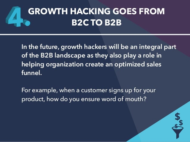 GROWTH HACKING GOES FROM  B2C TO B2B  In the future, growth hackers will be an integral part  of the B2B landscape as they...