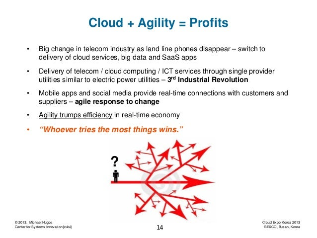 Cloud + Agility = Profits •  Big change in telecom industry as land line phones disappear – switch to delivery of cloud se...