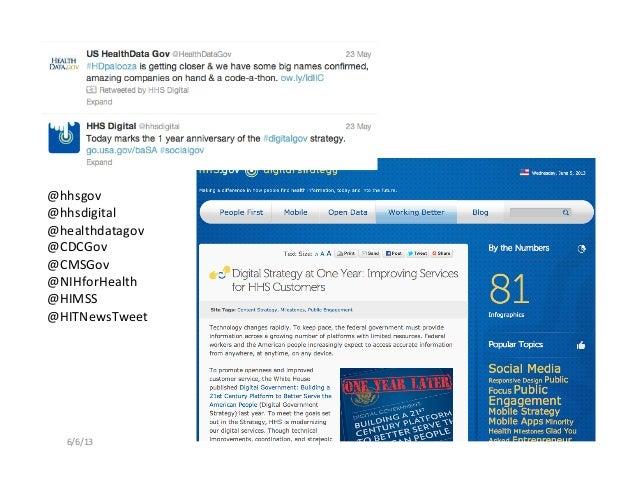 @hhsgov @hhsdigital @healthdatagov @CDCGov @CMSGov @NIHforHealth @HIMSS @HITNewsTweet 6/6/13  T