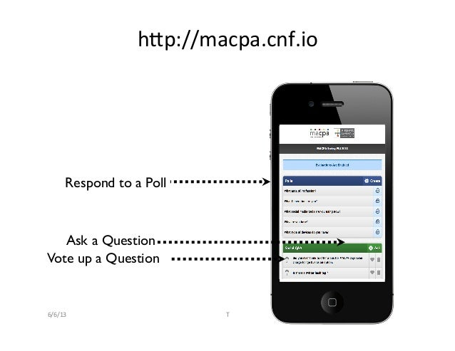 Respond to a Poll	Ask a Question	Vote up a Question	hQp://macpa.cnf.io	  6/6/13	   T