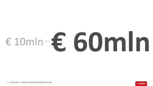 © 2016 EXACT € 60mln 4 € 10mln - DIGITAL FUTURE MARKETING & SALES 2016