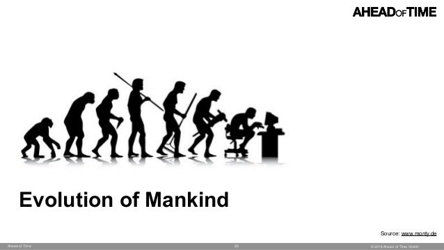 © 2014 Ahead of Time GmbHAhead of Time 20 Evolution of Mankind Source: www.monty.de