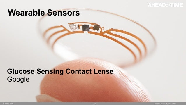 Page © 2014 Ahead of Time GmbHAhead of Time 54 Wearable Sensors Glucose Sensing Contact Lense Google