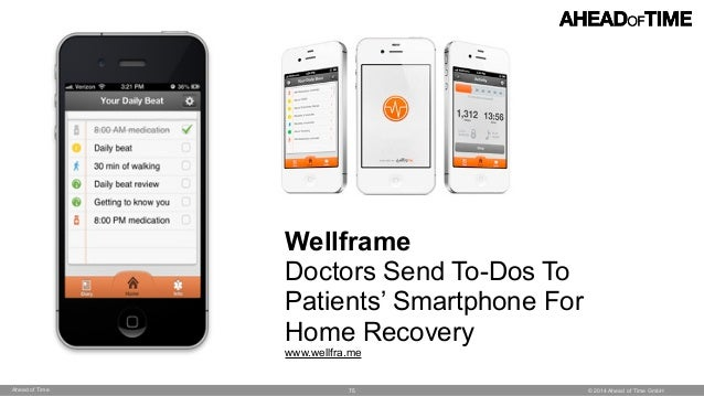 © 2014 Ahead of Time GmbHAhead of Time 75 Wellframe Doctors Send To-Dos To Patients' Smartphone For Home Recovery www.well...