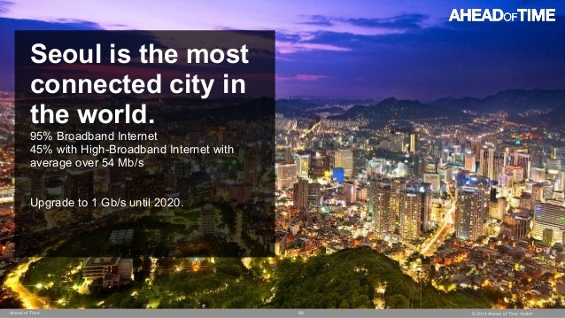 © 2014 Ahead of Time GmbHAhead of Time 90 Seoul is the most connected city in the world. 95% Broadband Internet 45% with H...