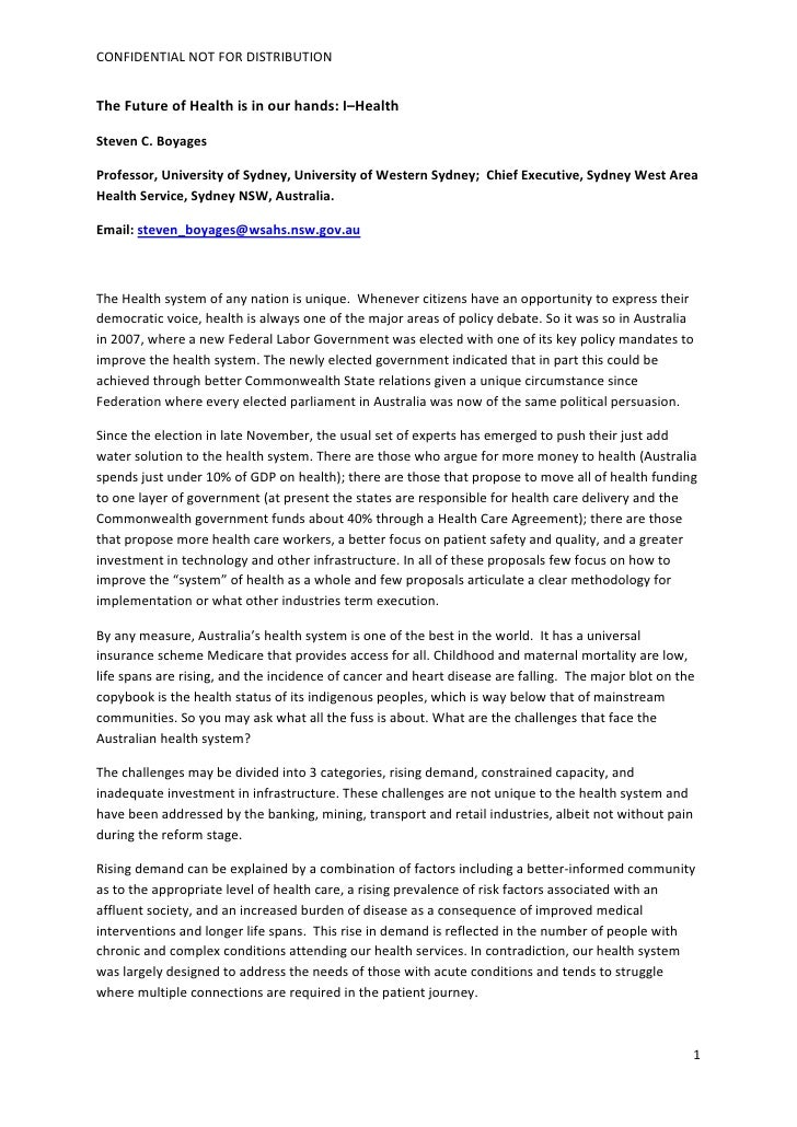 CONFIDENTIALNOTFORDISTRIBUTION   TheFutureofHealthisinourhands:I–Health  StevenC.Boyages  Professor,Unive...