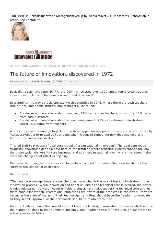 Published On Linkedin Innovation Management Group by Henra Mayer CEO, Innocentrix - Innovation in Action. Top Contributor ...