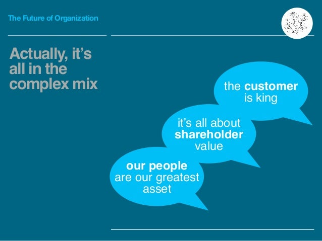 The Future of Organization Actually, it's all in the complex mix our people are our greatest asset it's all about sharehol...