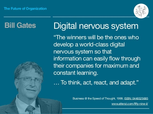 """The Future of Organization Digital nervous system  """"The winners will be the ones who develop a world-class digital nervous..."""