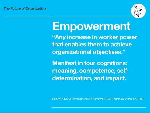 """The Future of Organization Empowerment """"Any increase in worker power that enables them to achieve organizational objective..."""