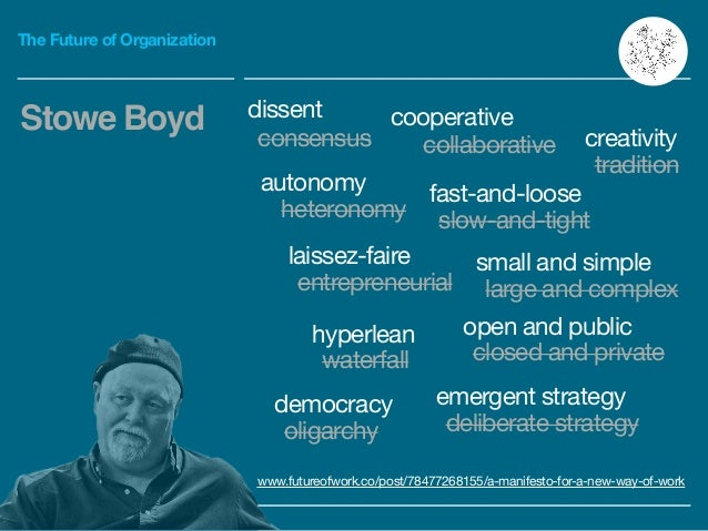 The Future of Organization Stowe Boyd www.futureofwork.co/post/78477268155/a-manifesto-for-a-new-way-of-work dissent conse...