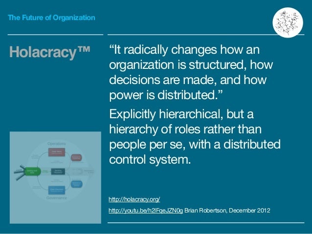 """The Future of Organization """"It radically changes how an organization is structured, how decisions are made, and how power ..."""