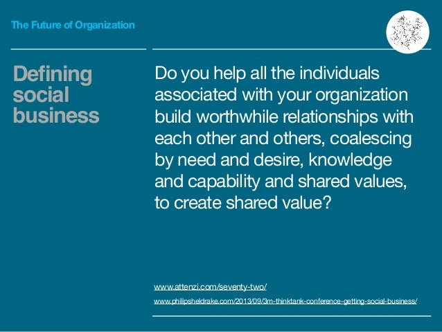 The Future of Organization Do you help all the individuals associated with your organization build worthwhile relationship...