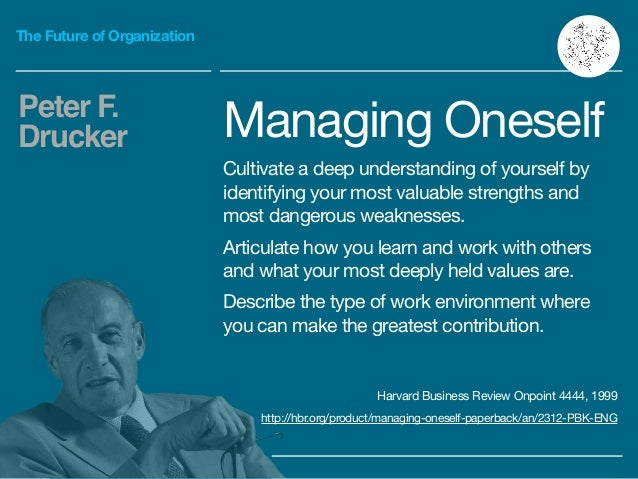The Future of Organization Managing Oneself  Cultivate a deep understanding of yourself by identifying your most valuable ...