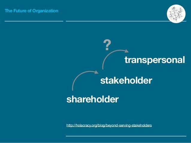 The Future of Organization shareholder transpersonal stakeholder ? http://holacracy.org/blog/beyond-serving-stakeholders
