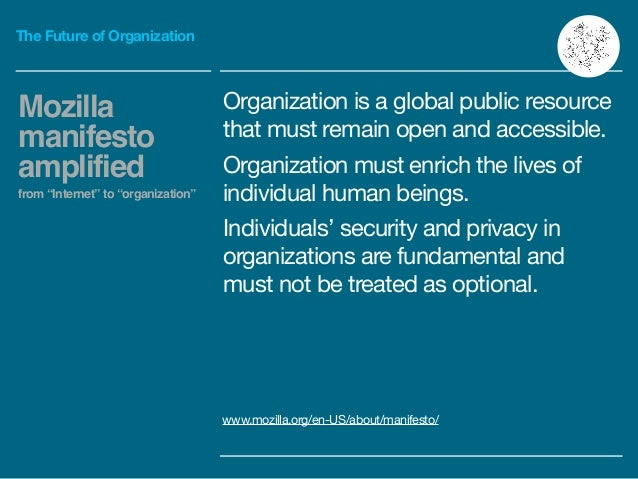 The Future of Organization Organization is a global public resource that must remain open and accessible.  Organization mu...