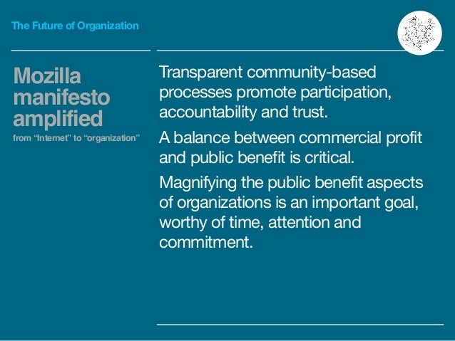 The Future of Organization Transparent community-based processes promote participation, accountability and trust.  A balan...