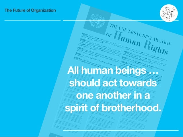 The Future of Organization All human beings … should act towards one another in a spirit of brotherhood.