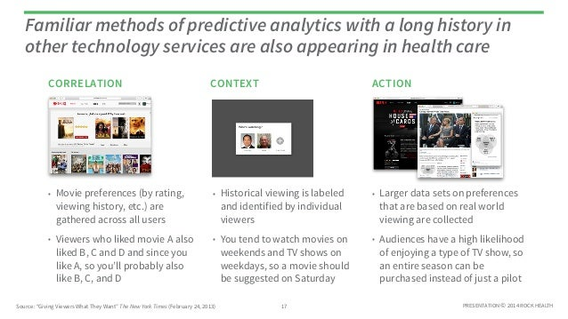 Familiar methods of predictive analytics with a long history in  other technology services are also appearing in health ca...