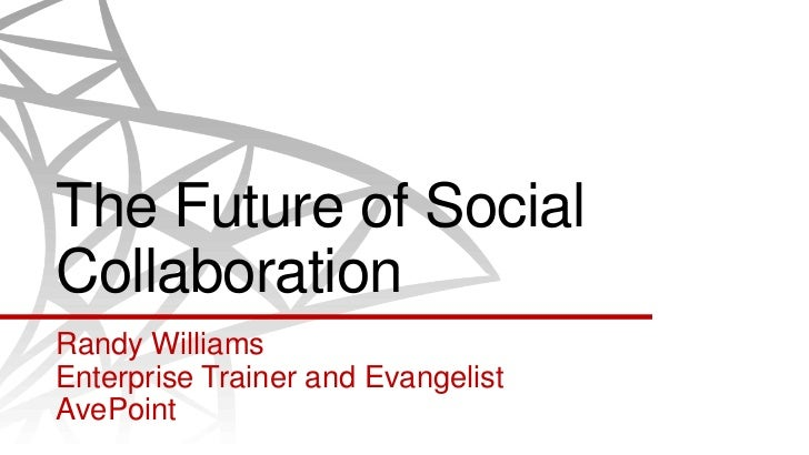 The Future of SocialCollaborationRandy WilliamsEnterprise Trainer and EvangelistAvePoint
