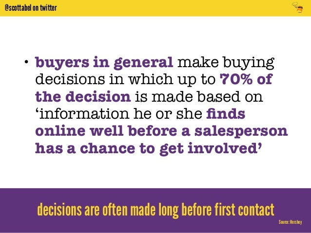 @scottabel on twitter  • buyers in general make buying  decisions in which up to 70% of  the decision is made based on  'i...