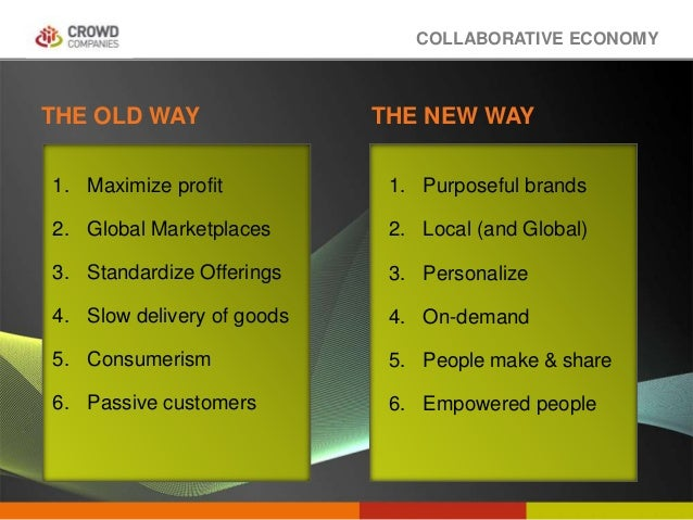 COLLABORATIVE ECONOMY THE OLD WAY THE NEW WAY 1. Maximize profit 2. Global Marketplaces 3. Standardize Offerings 4. Slow d...