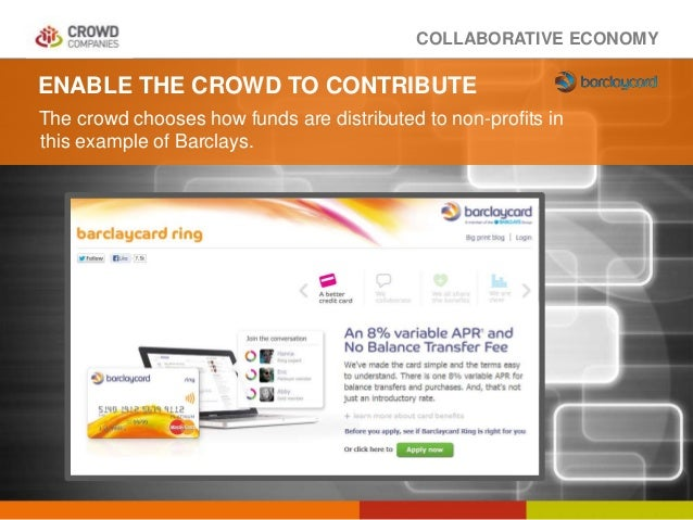 COLLABORATIVE ECONOMY ENABLE THE CROWD TO CONTRIBUTE The crowd chooses how funds are distributed to non-profits in this ex...
