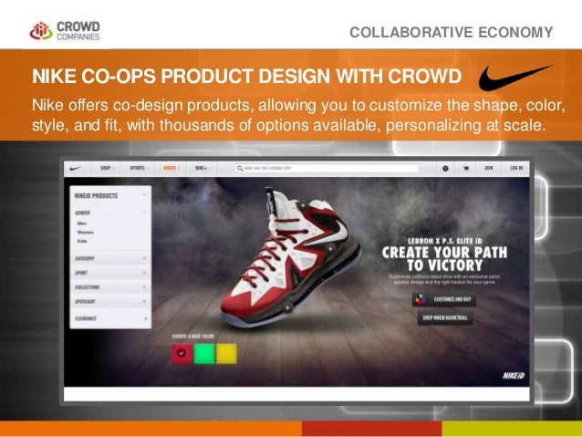 COLLABORATIVE ECONOMY NIKE CO-OPS PRODUCT DESIGN WITH CROWD Nike offers co-design products, allowing you to customize the ...