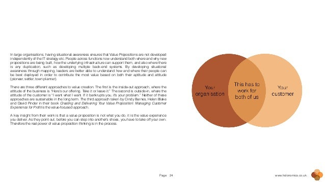 Page www.holonomics.co.uk24 In large organisations, having situational awareness ensures that Value Propositions are not d...