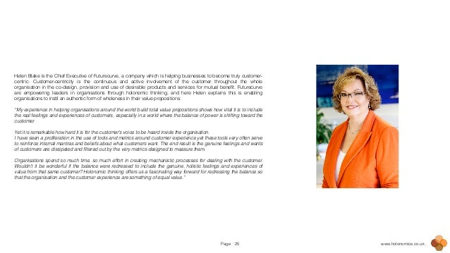 Page www.holonomics.co.uk25 Helen Blake is the Chief Executive of Futurecurve, a company which is helping businesses to be...