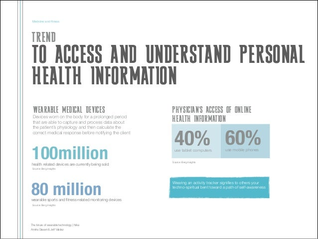 Medicine and fitness  TREND  TO ACCESS AND UNDERSTAND PERSONAL HEALTH INFORMATION WEARABLE MEDICAL DEVICES Devices worn on ...
