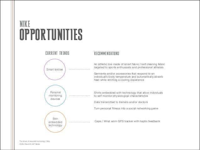 NIKE  OPPORTUNITIES CURRENT TRENDS  Smart textiles  RECOMMENDATIONS An athletic line made of smart fabric / self cleaning ...