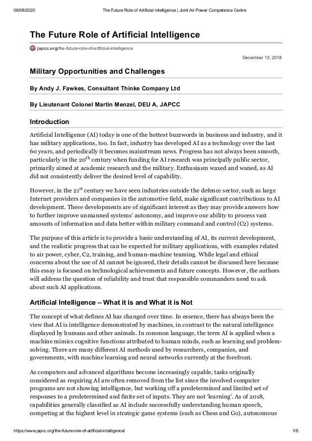 08/08/2020 The Future Role of Artificial Intelligence | Joint Air Power Competence Centre https://www.japcc.org/the-future...