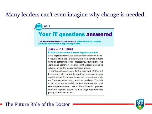 1212The Future Role of the Doctor Many leaders can't even imagine why change is needed.