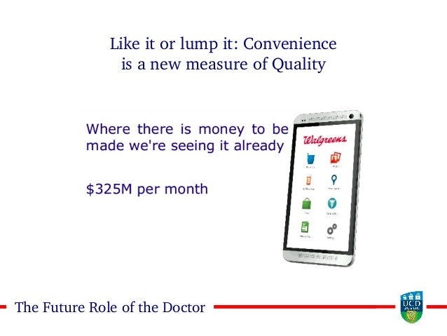 1717The Future Role of the Doctor Like it or lump it: Convenience is a new measure of Quality