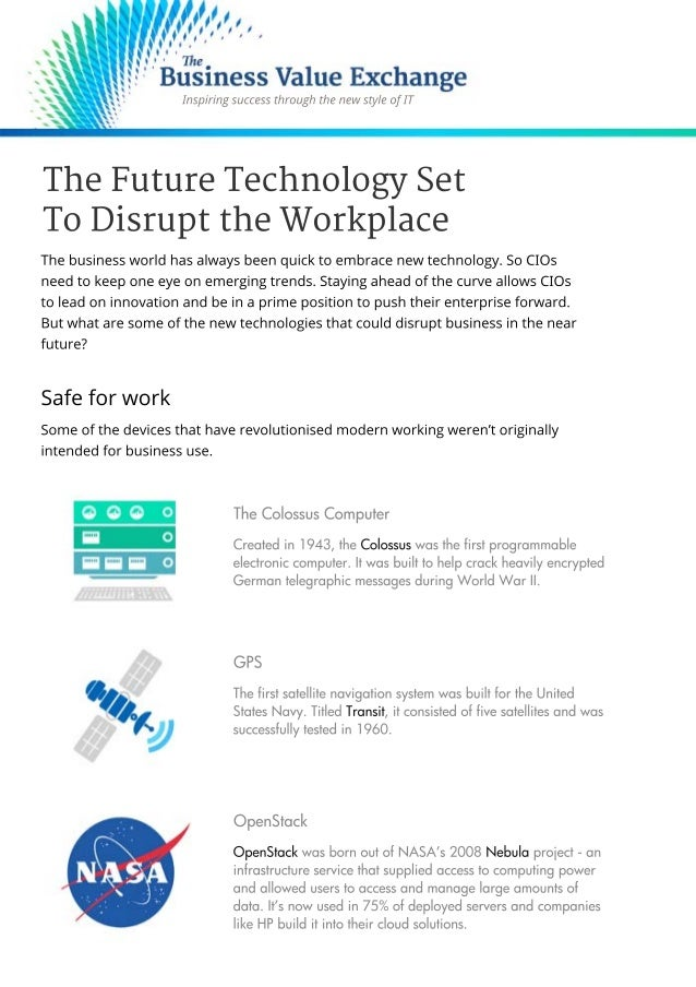 an analysis of technology and the future of work Jeanne c meister is partner, future workplace, and co-author of the future workplace experience future workplace has created the first online course to train hr leaders in how to use artificial intelligence for hr, called using ai 4 hr to enhance the employee experience.
